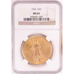 1925 $20 St. Gaudens Double Eagle Gold Coin NGC MS64