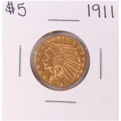 1911 $5 Indian Head Half Eagle Gold Coin