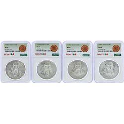 Lot of (4) 1978Mo Mexico 100 Pesos Silver Coins NGC MS64