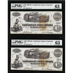 (2) Consecutive 1862 $100 Confederate States of America Notes PMG Choice Uncirculated 63