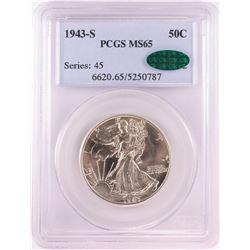 1943-S Walking Liberty Half Dollar Coin PCGS MS65 CAC