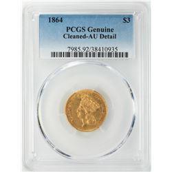 1864 $3 Indian Princess Head Gold Coin PCGS AU Details