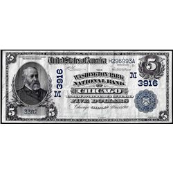 1902 Date Back $5 Washington Park NB of Chicago, IL CH# 3916 National Currency Note