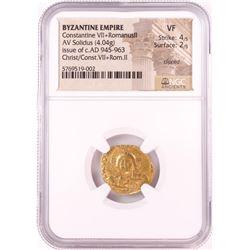 Christ Constantine VII Romanus II, 945-963 AD Byzantine Empire Gold Coin NGC VF