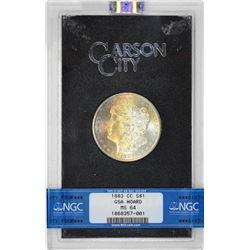 1883-CC $1 Morgan Silver Dollar Coin GSA Hoard NGC MS64 Amazing Toning