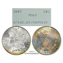 1883 $1 Morgan Silver Dollar Coin PCGS MS63 Green Rattler Amazing Toning