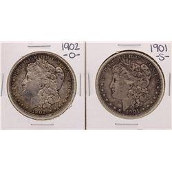 Lot of 1901-S & 1902-O $1 Morgan Silver Dollar Coins