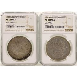 Lot of 1900ZS & 1900MO Mexico Pesos Silver Coins NGC Graded AU Details