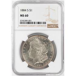 1884-S $1 Morgan Silver Dollar Coin NGC MS60