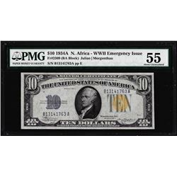 1934A $10 North Africa WWII Emergency Silver Certificate Note PMG About Uncirculated 55