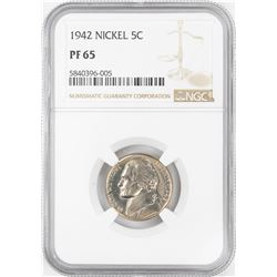 1942 Proof Jefferson Nickel Coin NGC PF65