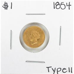 1854 Type II $1 Indian Princess Head Gold Dollar Coin