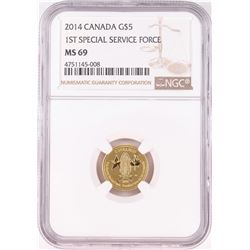 2014 Canada $5 1st Special Service Force Commemorative Gold Coin NGC MS69
