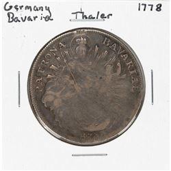 1778 Germany Bavaria Thaler Silver Coin
