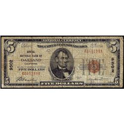 1929 $5 Central National Bank of Oakland, CA CH# 9502 National Currency Note