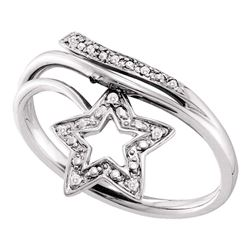 0.03 CTW Round Diamond Star Bypass Ring 10kt White Gold - REF-11N9Y