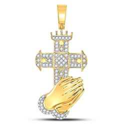 3/4 CTW Mens Round Diamond Praying Hands Cross Charm Pendant 10kt Yellow Gold - REF-60F3M