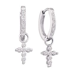 1/10 CTW Round Diamond Cross Dangle Hoop Earrings 10kt White Gold - REF-14K4R