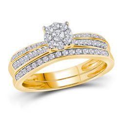 1/2 CTW Round Diamond Bridal Wedding Engagement Ring 10kt Yellow Gold - REF-33X3T