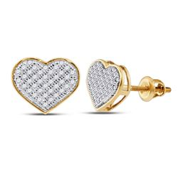1/5 CTW Round Diamond Heart Earrings 10kt Yellow Gold - REF-15W5F