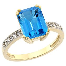 3.70 CTW Swiss Blue Topaz & Diamond Ring 10K Yellow Gold - REF-32M2A