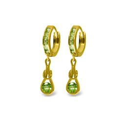 Genuine 2.3 ctw Peridot Earrings 14KT Yellow Gold - REF-74A6K