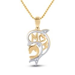 0.03 CTW Round Diamond Mom Dolphin Pendant 10kt Yellow Gold - REF-8K4R