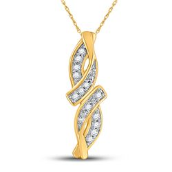 0.02 CTW Round Diamond Bypass Infinity Pendant 10kt Yellow Gold - REF-3T6K