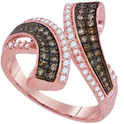 1/2 CTW Round Brown Diamond Bypass Ring 10kt Rose Gold - REF-39M6A