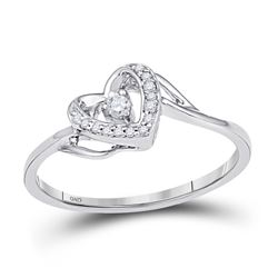 1/12 CTW Round Diamond Heart Promise Bridal Ring 10kt White Gold - REF-10R8H