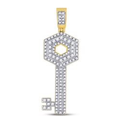 5/8 CTW Mens Round Diamond Key Charm Pendant 10kt Yellow Gold - REF-33A3N