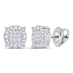 1 CTW Princess Diamond Fashion Cluster Earrings 14kt White Gold - REF-77K9R