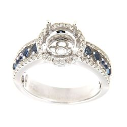 0.82 CTW Sapphire & Diamond Semi Mount Ring 14K White Gold - REF-63N2Y