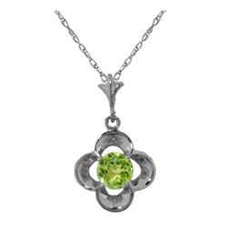 Genuine 0.55 ctw Peridot Necklace 14KT White Gold - REF-23F6Z