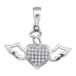 1/10 CTW Round Diamond Heart Angel Pendant 10kt White Gold - REF-7W5F