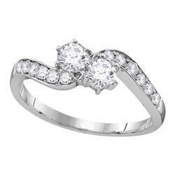 5/8 CTW Round Diamond 2-stone Bridal Wedding Engagement Ring 10kt White Gold - REF-54H3W