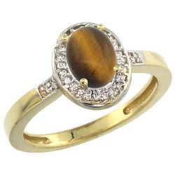 0.90 CTW Tiger Eye & Diamond Ring 14K Yellow Gold - REF-37X3M