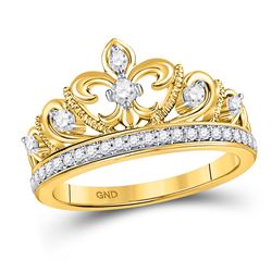 1/3 CTW Round Diamond Fleur-de-lis Crown Ring 10kt Yellow Gold - REF-39T3K