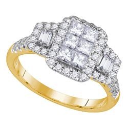 1 CTW Princess Diamond Rectangle Cluster Bridal Ring 14kt Yellow Gold - REF-101N9Y