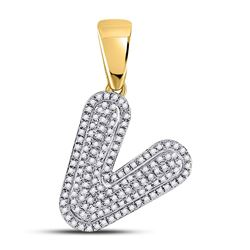3/8 CTW Mens Round Diamond Letter V Bubble Initial Charm Pendant 10kt Yellow Gold - REF-24W3F