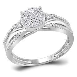 1/6 CTW Round Diamond Cluster Bridal Wedding Engagement Ring 10kt White Gold - REF-18M3A