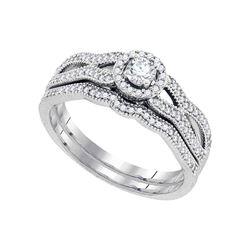 3/8 CTW Round Diamond Bridal Wedding Engagement Ring 10kt White Gold - REF-41M9A