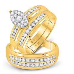 3/4 CTW His & Hers Round Diamond Cluster Matching Bridal Wedding Ring 10kt Yellow Gold - REF-63A5N