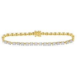 1 & 7/8 CTW Round Diamond Fashion Cluster Tennis Bracelet 14kt Yellow Gold - REF-173T9K