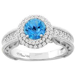 1.45 CTW Swiss Blue Topaz & Diamond Ring 14K White Gold - REF-86M6A