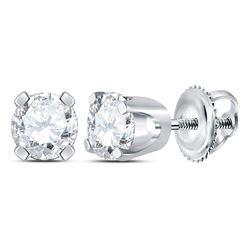 3/8 CTW Unisex Round Diamond Solitaire Stud Earrings 14kt White Gold - REF-33K6R