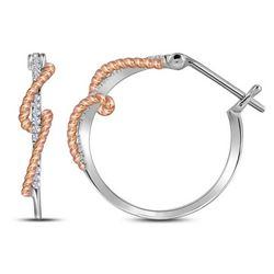1/10 CTW Round Diamond Rope Hoop Earrings 10kt Two-tone Gold - REF-14N4Y