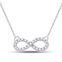 1/5 CTW Round Diamond Infinity Pendant 10kt White Gold - REF-22T8K