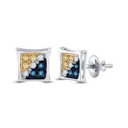 1/20 CTW Mens Round Blue Yellow Color Enhanced Diamond Square Kite Earrings 10kt White Gold - REF-5N