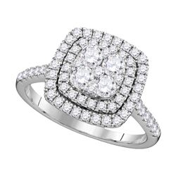1 CTW Round Diamond Square Double Halo Cluster Ring 14kt White Gold - REF-77A9N